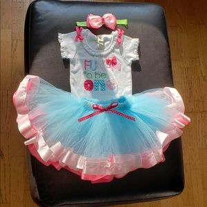 First Birthday - Fun To Be One tutu set with a bow